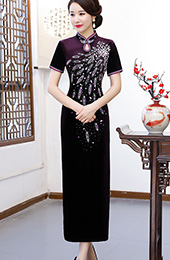 Purple Velvet Long Beaded Qipao / Cheongsam Dress