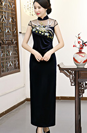 Stretch Velvet Embroidered Illusion Long Qipao / Cheongsam Dress