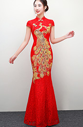 Red Fishtail Qipao / Cheongsam Wedding Dress with Gold Phoenix