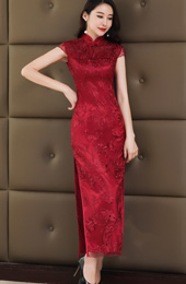 Wine Red Lace Long Qipao / Cheongsam Wedding Dress