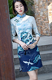 Blue Vintage Printing Short Qipao / Cheongsam Party Dress