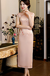 Pink Embroidered Long Qipao / Cheongsam Dress with Lace Trim