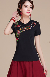 Black Stretch Embroidered Round Neck Blouse Top