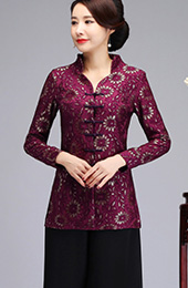 Purple Lace Quilted Qipao Tang Jacket
