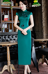 Dark Green Embroidered Long Qipao / Cheongsam Evening Dress