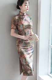 Fall Midi Qipao / Cheongsam Party Dress in Shimmering Print