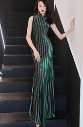 Green Striped Long Fishtail Modern Qipao / Cheongsam Party Dress