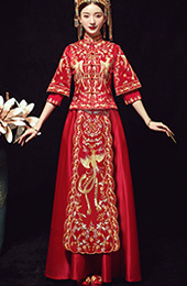 Red 3/4 Sleeve Wedding Qun Kwa with Phoenix Embroidery