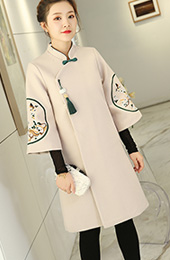 Beige Embroidered Wool Blend Women Chinese Tang Coat