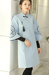 Blue Embroidered Wool Blend Women Chinese Tang Coat