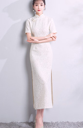 White Lace Long Qipao / Cheongsam Party Dress with Slit