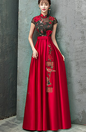 Colorblock Floor Length Qipao / Cheongsam Wedding Dress