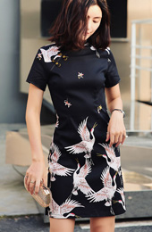 Black Crane Bird Print Short Qipao / Cheongsam Party Dress