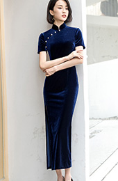 Royal Blue Velvet Qipao / Cheongsam Dress with Thigh Split