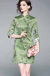Green Embroidered Bamboo Qipao / Cheongsam Dress