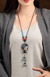 Handmade Adjustable String Agate Beaded Cloisonné Necklace