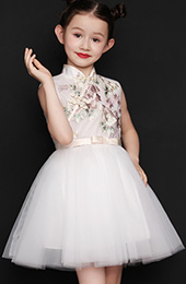 White Embroidered Flower Girl Tulle Qipao / Cheongsam Dress