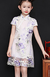 White Embroidered Kids Girls Qipao / Cheongsam Dress