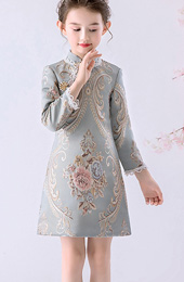 Blue Floral Woven Kids Girl's Qipao / Cheongsam Winter Dress
