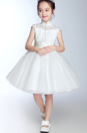 White Lace Flower Girl's Tulle Qipao / Cheongsam Dress