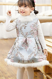 Fur Trim Quilt Blue Kids Cheongsam / Qipao Winter Dress