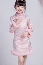 Pink Floral Kids Girls Qipao / Cheongsam Winter Dress