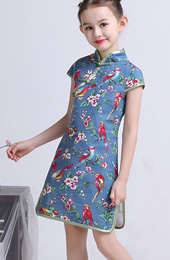 Blue Floral Linen Kids Girl's Cheongsam / Qipao Dress