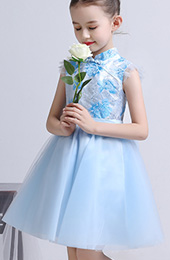 Blue Flower Girl's Tulle Cheongsam / Qipao Dress