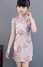 Pink Rabbit Print Kids Girl's Cheongsam / Qipao Dress
