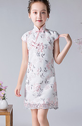 White Embroidered Kids Girl's Qipao / Cheongsam Dress