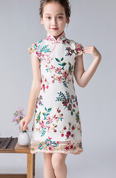 Embroidered Overlay Kids Girl's Qipao / Cheongsam Dress