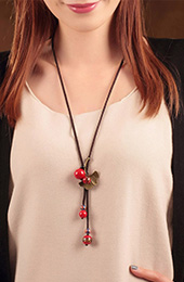 Red Stone Handmade Adjustable String Beads Necklaces