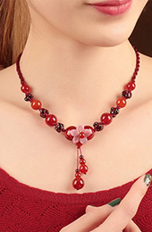 Red Colored Glaze Beads Handmade String Necklaces