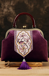 Wooden Handle Purple Embroidered Velvet Clutch Purse Bag