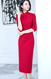 Red Lace Half Sleeve Long Qipao / Cheongsam Party Dress