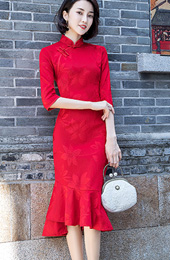 Red Tea Length Qipao / Cheongsam Dress with Pep Hem