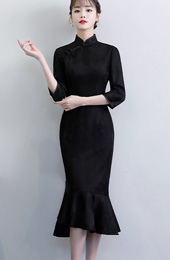 Black Tea Length Qipao / Cheongsam Dress with Pep Hem