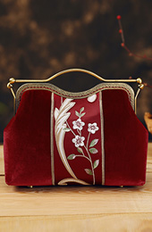 Embroidered Red Velvet Chain Strap Clutch Purse Bag