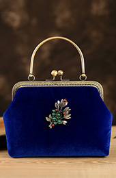 Blue Velvet Chain Strap Top Handle Clutch Bag