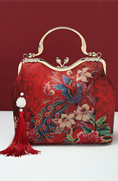 Red Phoenix Printing Chain Strap Top Handle Clutch Bag