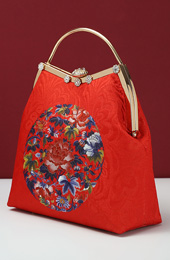 Red Floral Chain Top Handle Clutch Bag