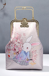 Pink Printing Rabbit Chain Top Handle Clutch Bag