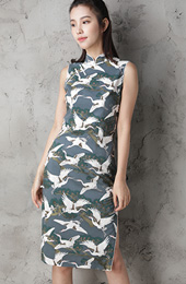 Crane Bird Printing Custom Tailored Qipao / Cheongsam Dress