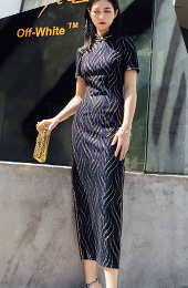 Gold Striped Blue Long Qipao / Cheongsam Dress