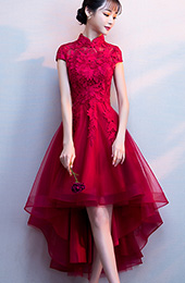 Red High Low Hem Qipao / Cheongsam Party Dress