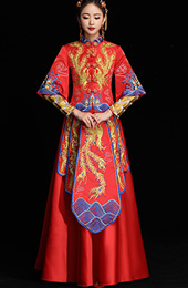 Red Phoenix & Dragon Embroidered Wedding Qun Kwa