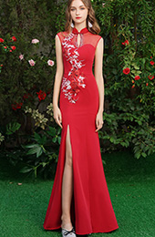 Red Embroidered Thigh Split Qipao / Cheongsam Wedding Dress