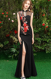 Black Embroidered Thigh Split Qipao / Cheongsam Evening Dress