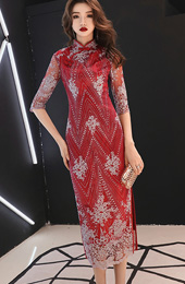 Lace Overlay Red Long Qipao / Cheongsam Party Dress