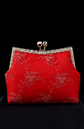 Red Lace Chain Strap Clutch Purse Bag